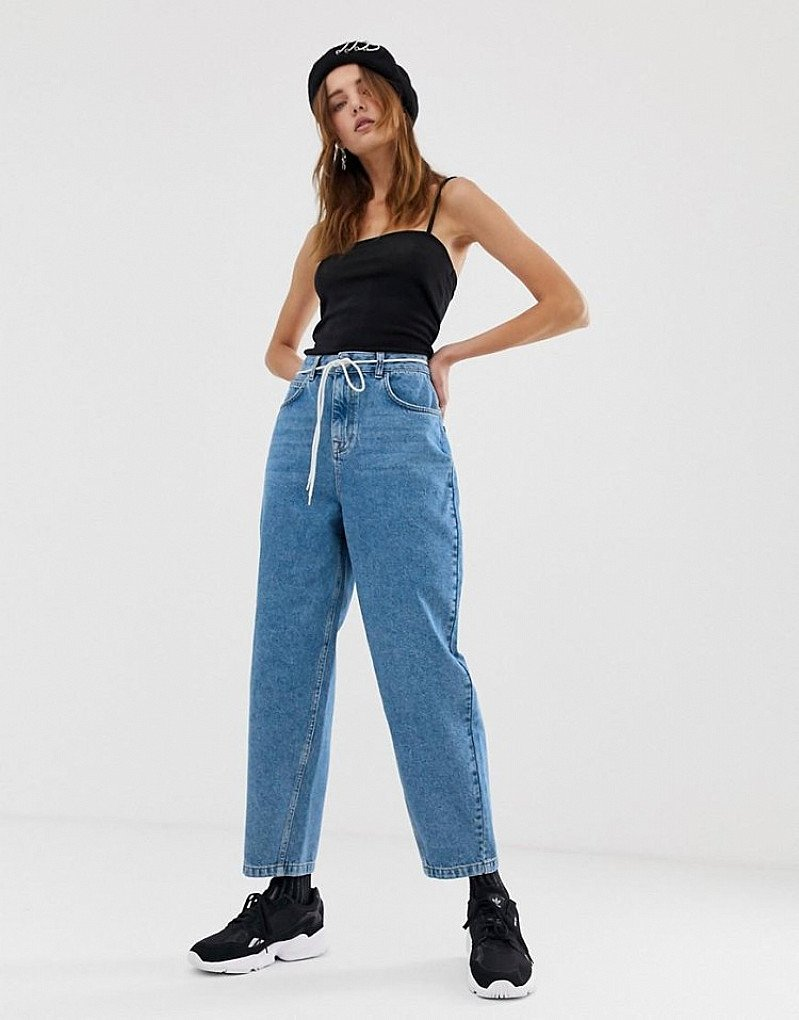 SALE - COLLUSION x012 balloon leg jeans in mid wash blue