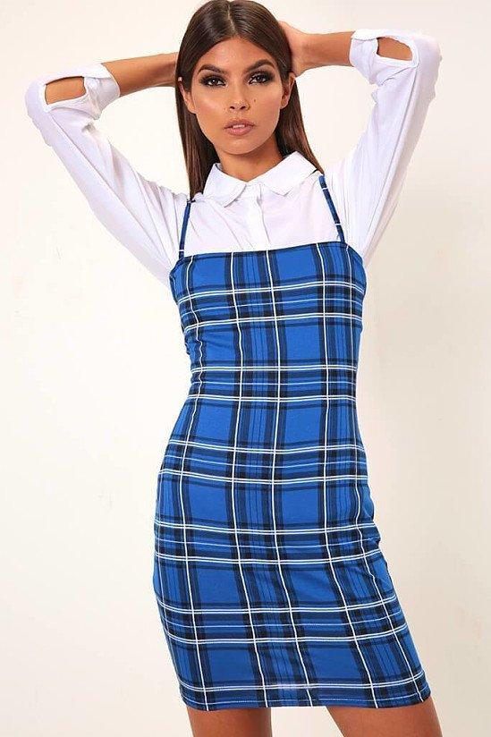 SALE - Blue Checked Square Neck Mini Bodycon Dress!