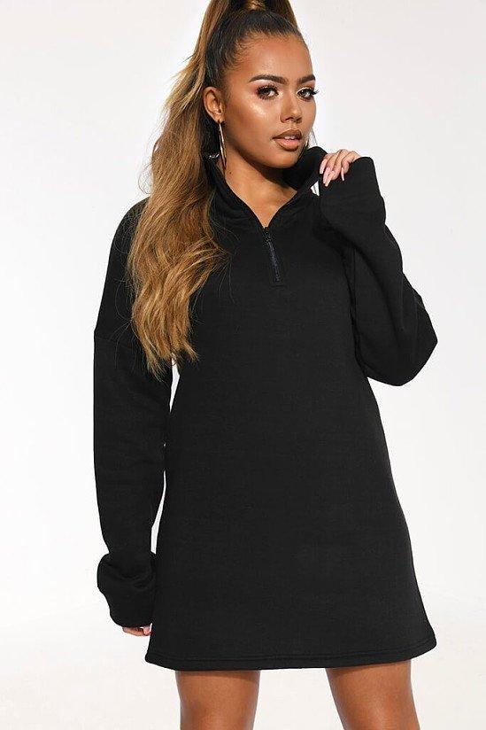SALE - Black Zip Through Sweater Dress!