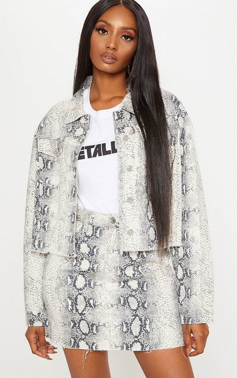SALE - GREY SNAKE PRINT DENIM JACKET!