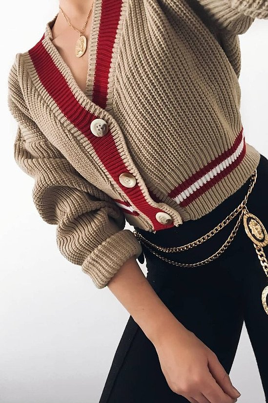 SALE - Beige Cricket Cardigan With Red And White Stripe!