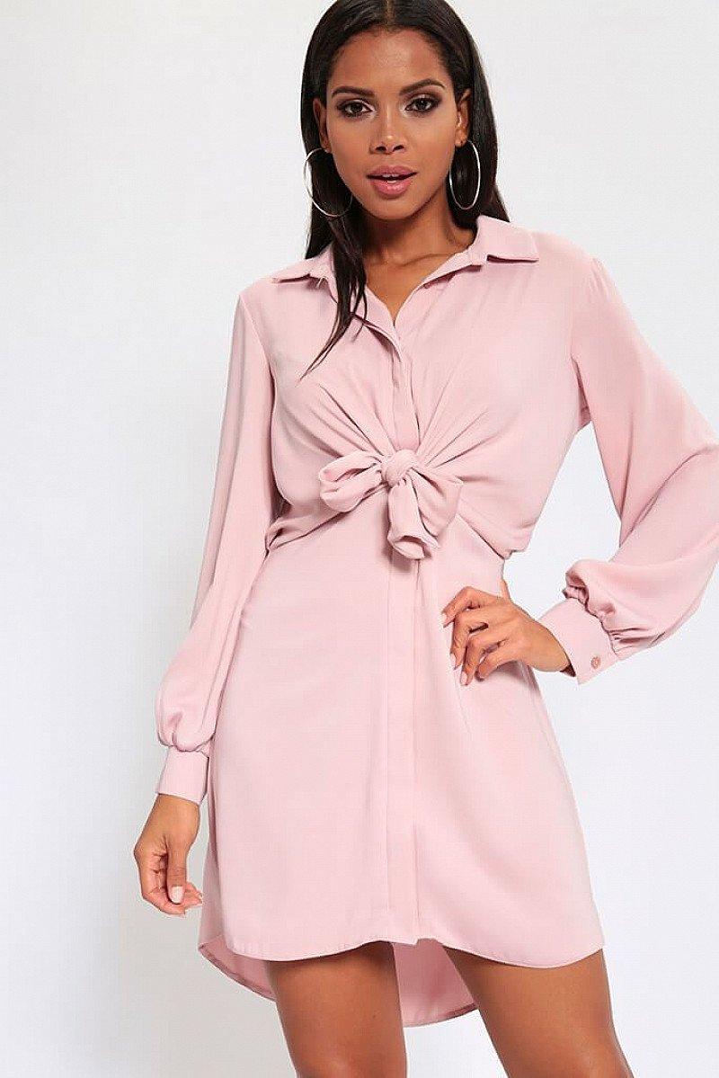 SALE - Dark Blush Tie Front Shirt Dress!