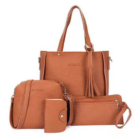 SALE, 55% OFF - 4 PCS Women PU Leather Handbag Tassel Leisure Crossbody Bag!