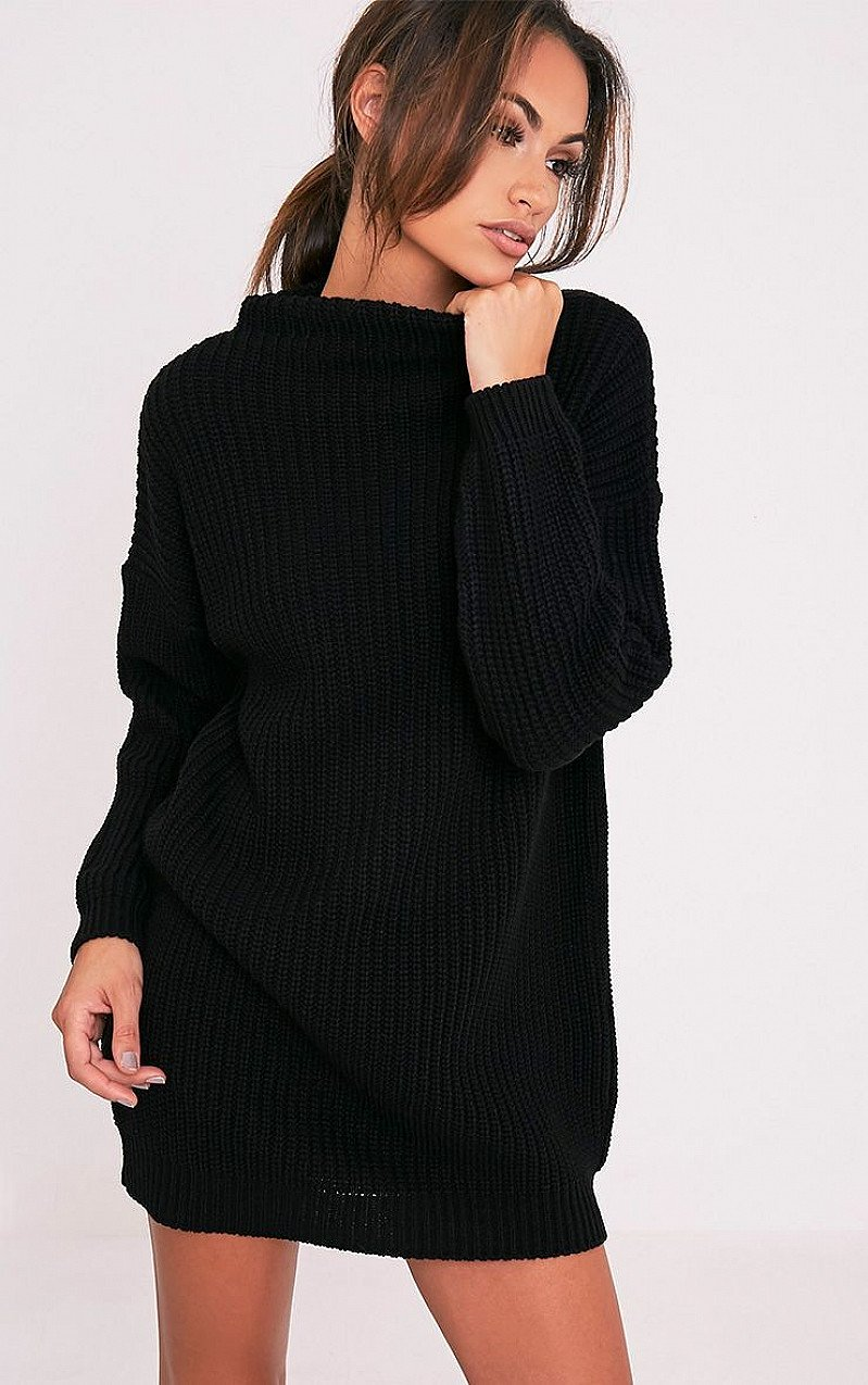 SALE - IFFY BLACK OVERSIZED CABLE KNIT DRESS!