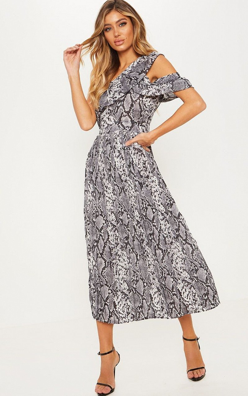 SALE - GREY SNAKE PRINT ONE SHOULDER RUFFLE DETAIL PLEATED MIDI DRESS!