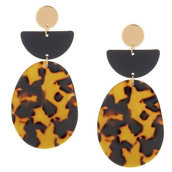 "SALE - 3"" Resin Tortoiseshell Drop Earrings - Black!"