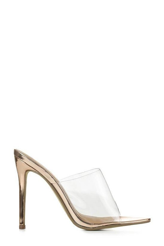 SALE - Rose Gold Perspex Heeled Mules With Pointed Toe!
