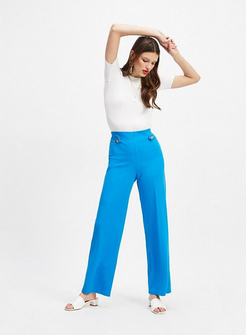SALE - Cobalt Blue Tab Wide Leg Trousers