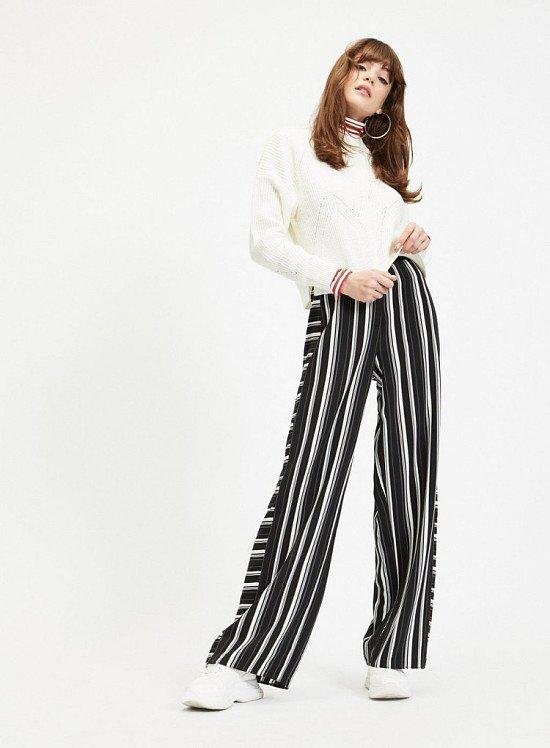 SALE - Black Contrast Panel Stripe Trousers