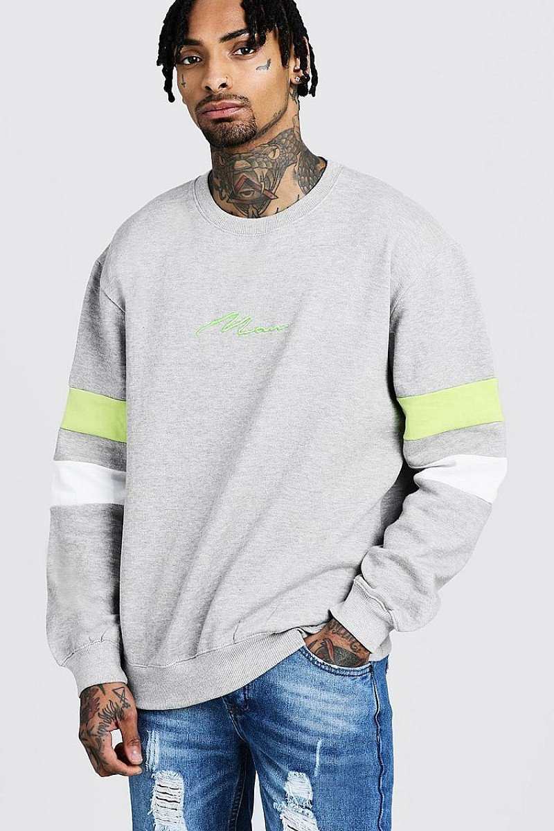 SALE - MAN Signature Loose Fit Contrast Panel Sweater!