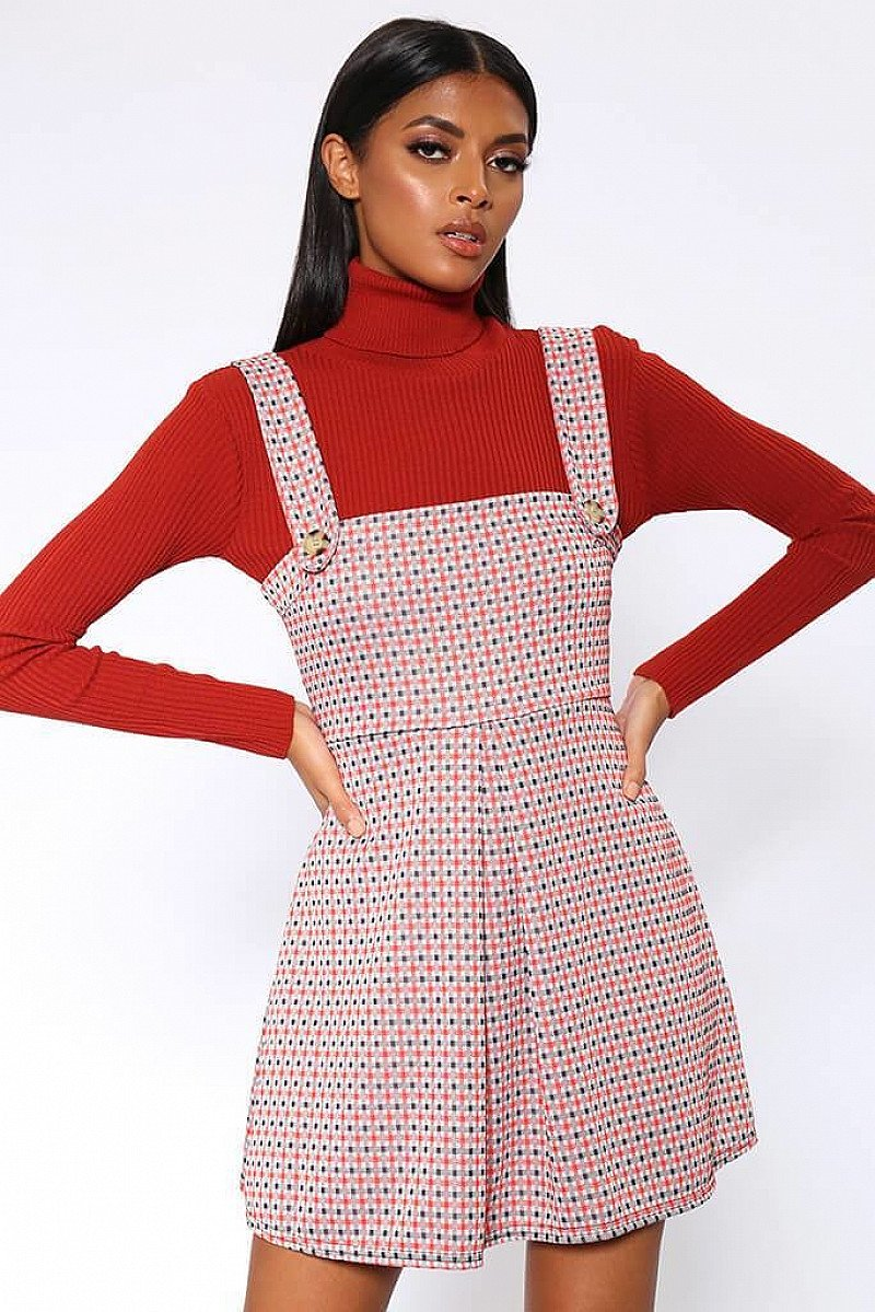 SALE - Red Button Front Pinafore Mini Dress