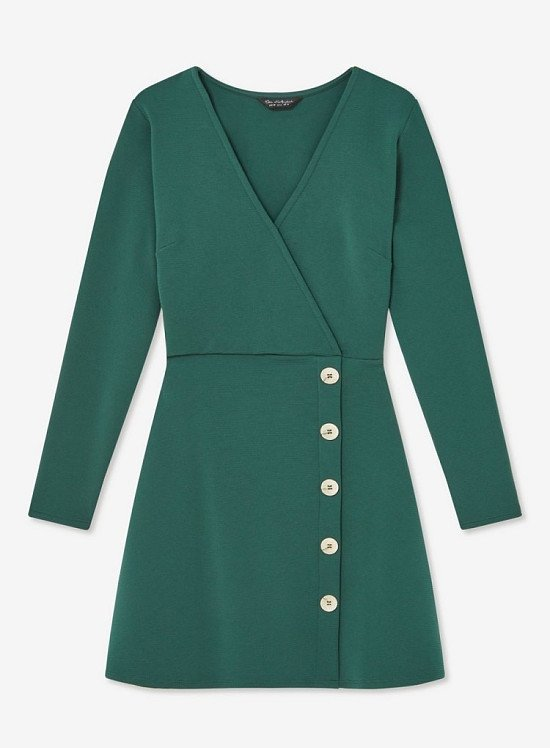 SALE - Green Rib Button Through Fit and Flare Mini Dress!