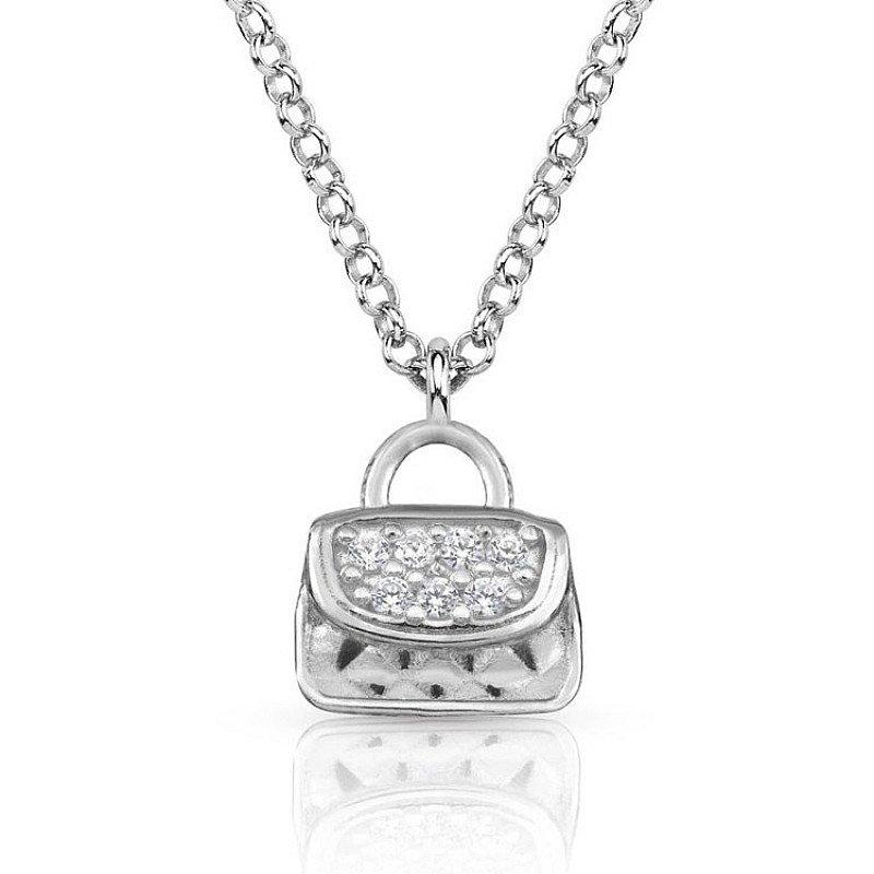 SALE, SAVE 50% - Nomination Gioie Silver Handbag CZ Necklace!