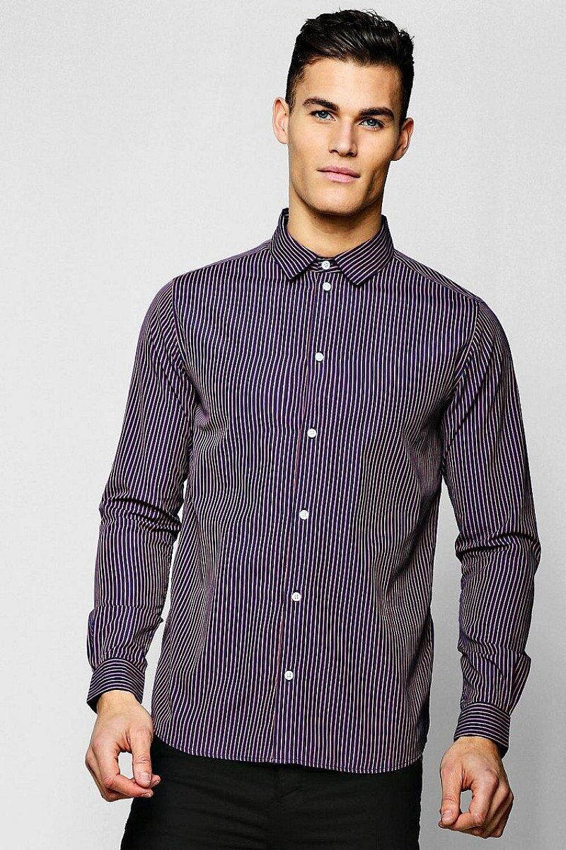 SALE - Jacquard Stripe Long Sleeve Smart Shirt!