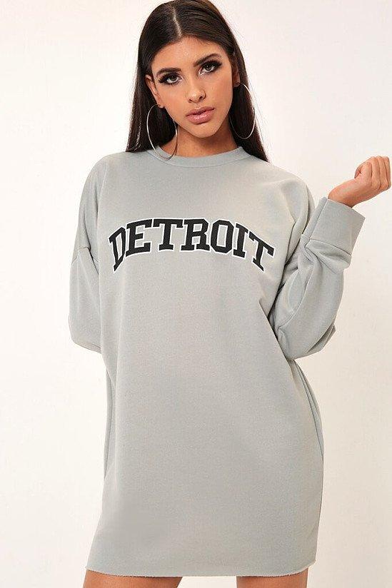 SALE - Grey Detroit Slogan Distressed Hem Sweat Dress