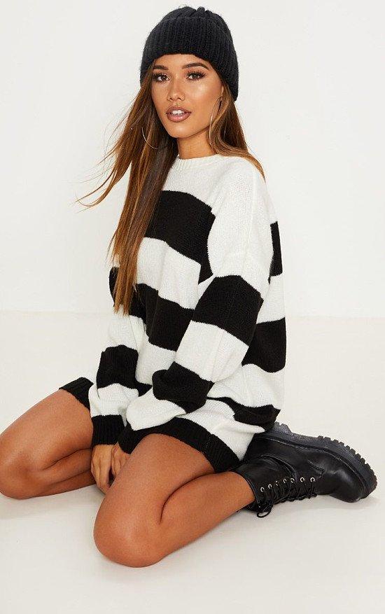 SALE, SAVE 40% - MONOCHROME STRIPED OVERSIZED JUMPER DRESS!