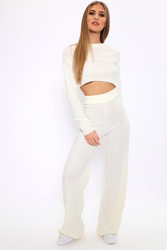 SALE, SAVE 80% - Cream Knitted Lounge Flare Trousers