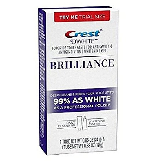 50% OFF CREST 3D WHITE BRILLIANCE DAILY CLEANSING FLUORIDE TOOTHPASTE & GEL WHITENING SYSTEM