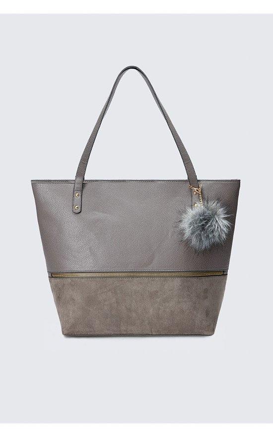 SALE - GREY POM ZIP SHOPPER BAG!