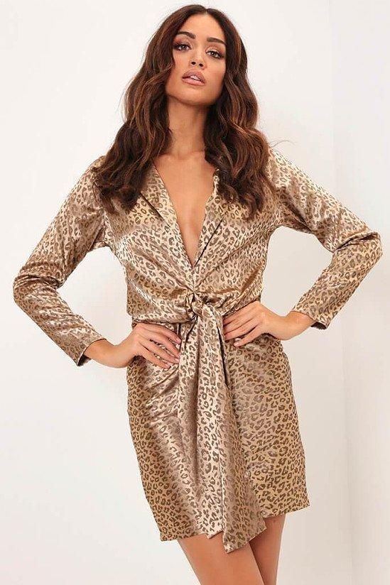SALE - Cream Gold Leopard Print Tie Front Satin Dress!