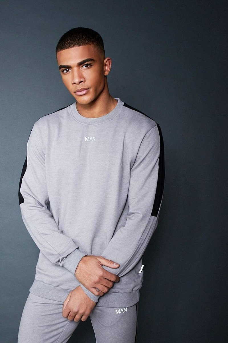 SALE - CREW SWEATER WITH CONTRAST SLEEVE PANEL