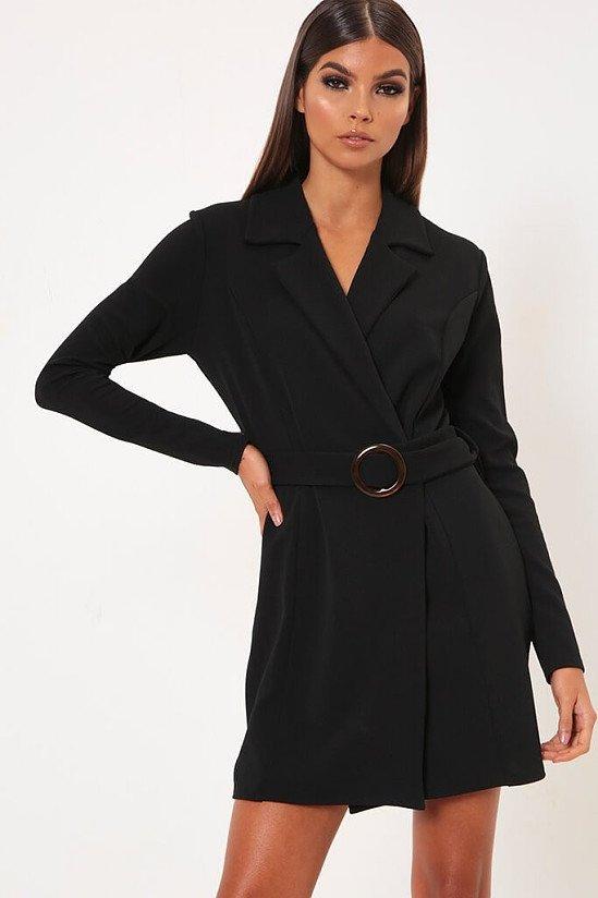 SALE - Black Horn Buckle Belted Blazer Dress
