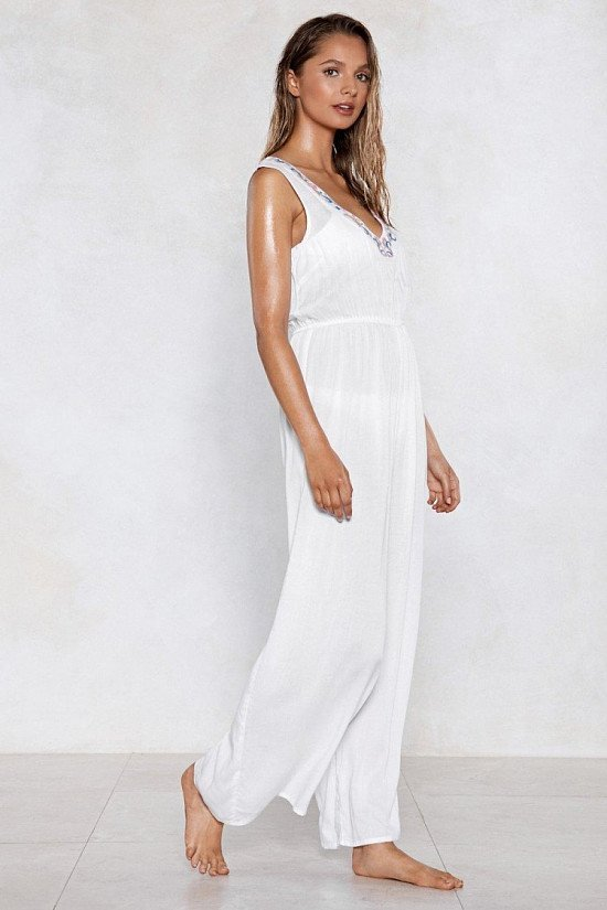 SALE - Life's a Beach Embroidered Cover-Up Jumpsuit