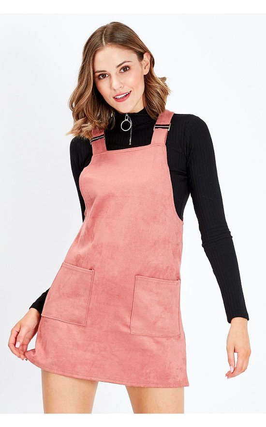 SALE - PINK SUEDE PINAFORE TRIM DRESS
