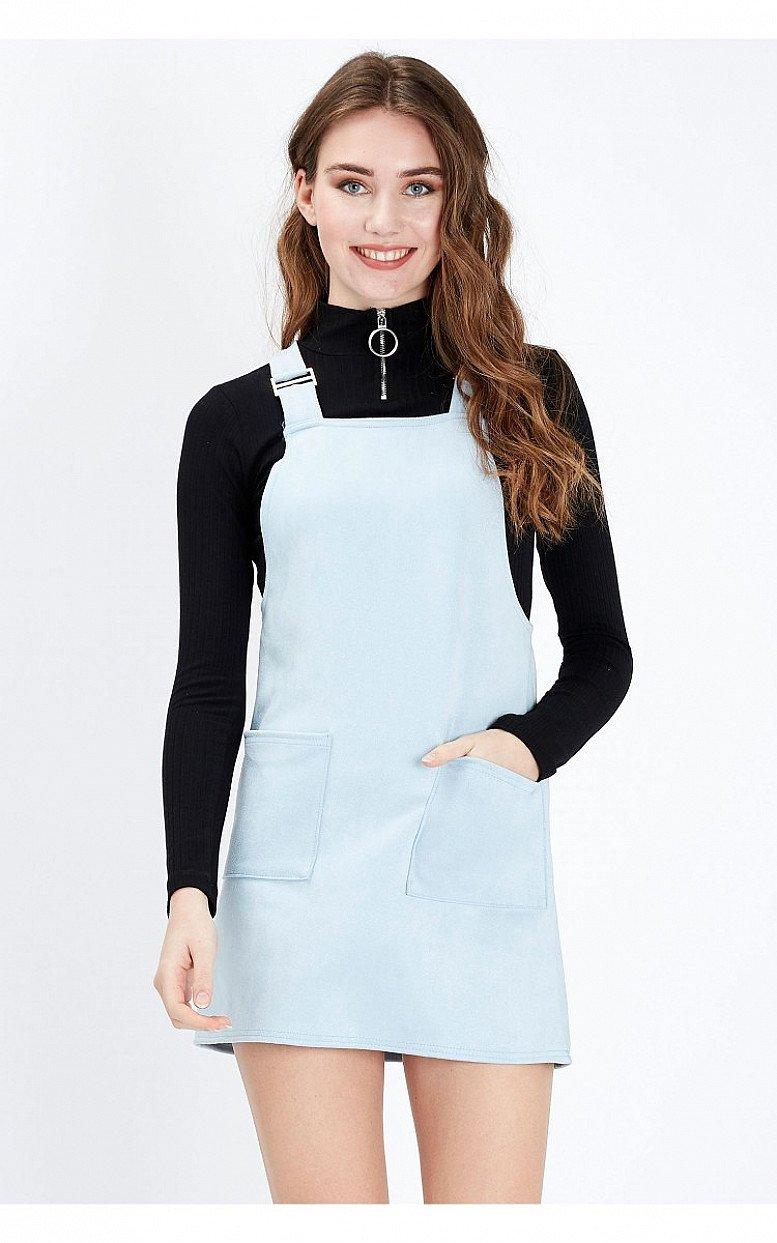 SALE - BLUE SUEDE PINAFORE DRESS