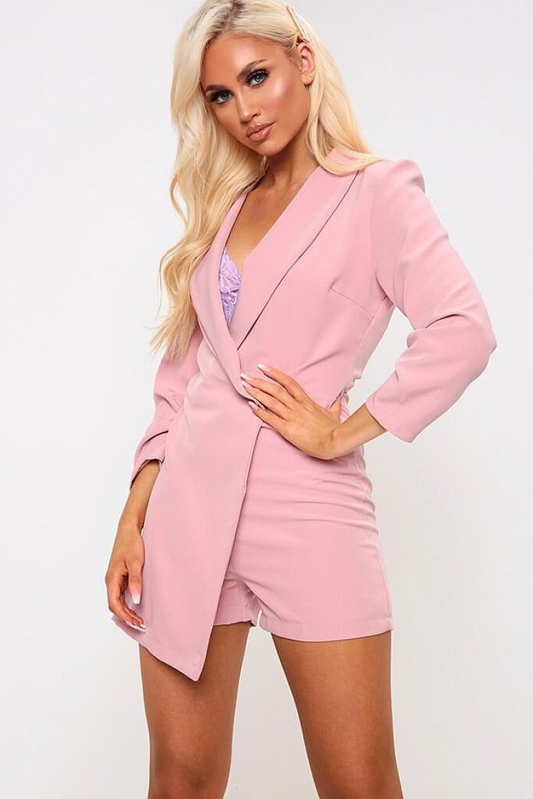 UP TO 75% OFF PLAYSUITS - Pink Wrap Over Blazer Playsuit