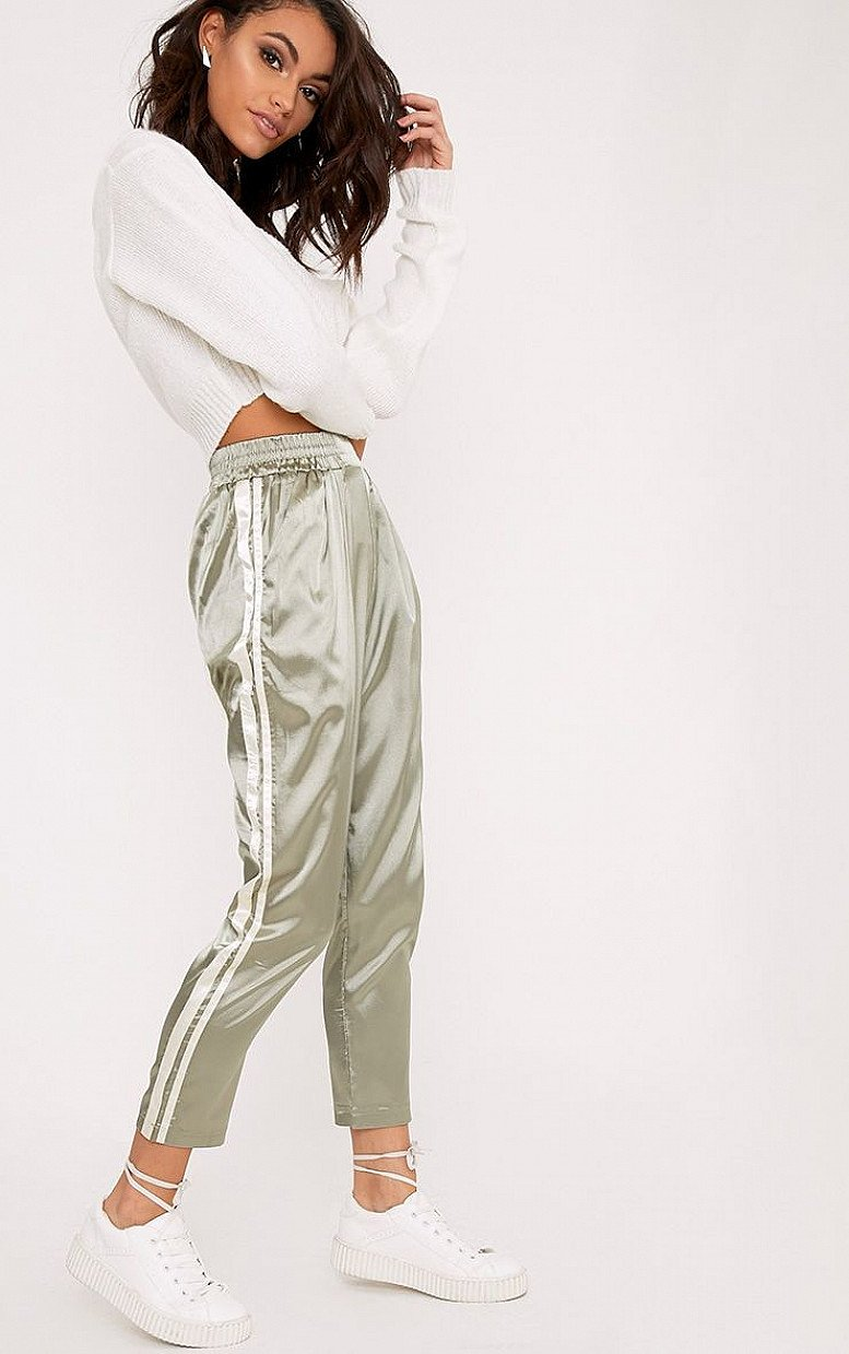 20% OFF OR MORE SITE WIDE - SHANNON SAGE GREEN SATIN SIDE STRIPE BOXER JOGGERS