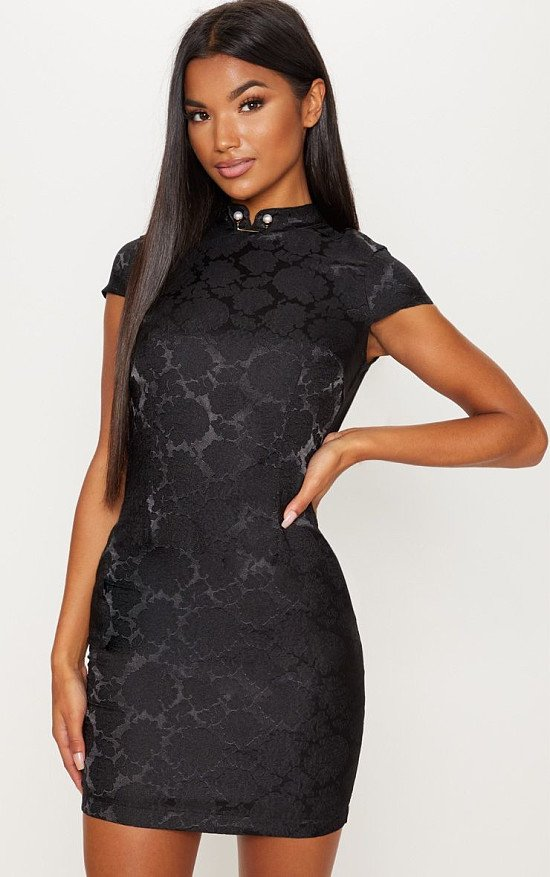 20% OFF OR MORE SITEWIDE - BLACK FLORAL SATIN ORIENTAL BODYCON DRESS