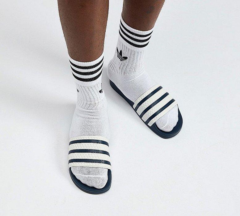 SALE - adidas Originals Adilette Slides Sandal | White / Adiblue