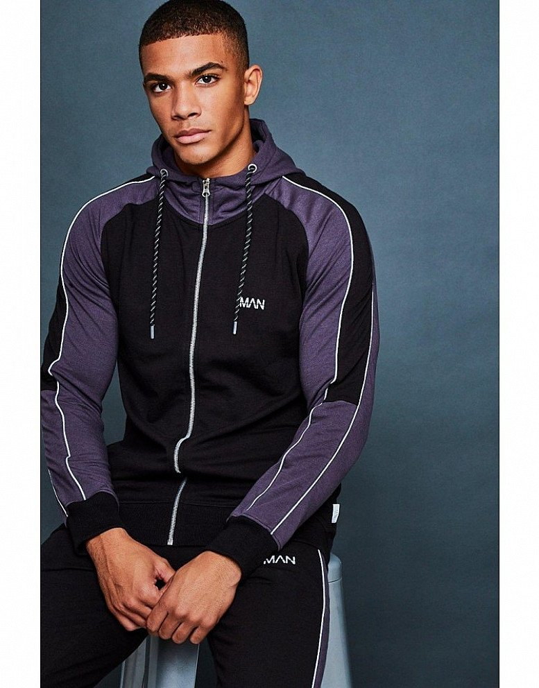 40% off Activewear - HOODED MUSCLE FIT CONTRAST SLEEVE TRACKSUIT