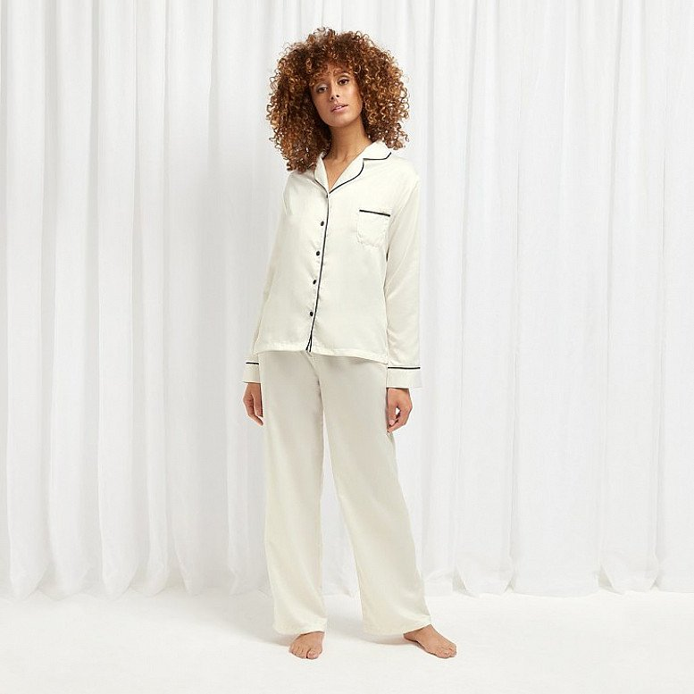 Bluebella 10% off Nightwear Gifts Collection - Inc. CLAUDIA SHIRT AND TROUSER CREAM