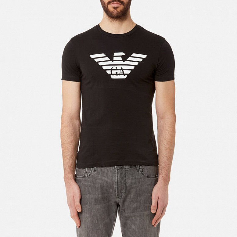 Extra 15% of Selected Outlet - Emporio Armani Men's Aj Chest Logo T-Shirt - Nero
