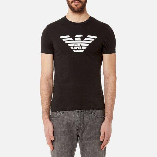 Extra 15% of Selected Outlet - Emporio Armani Men's Aj Chest Logo T-Shirt - Nero