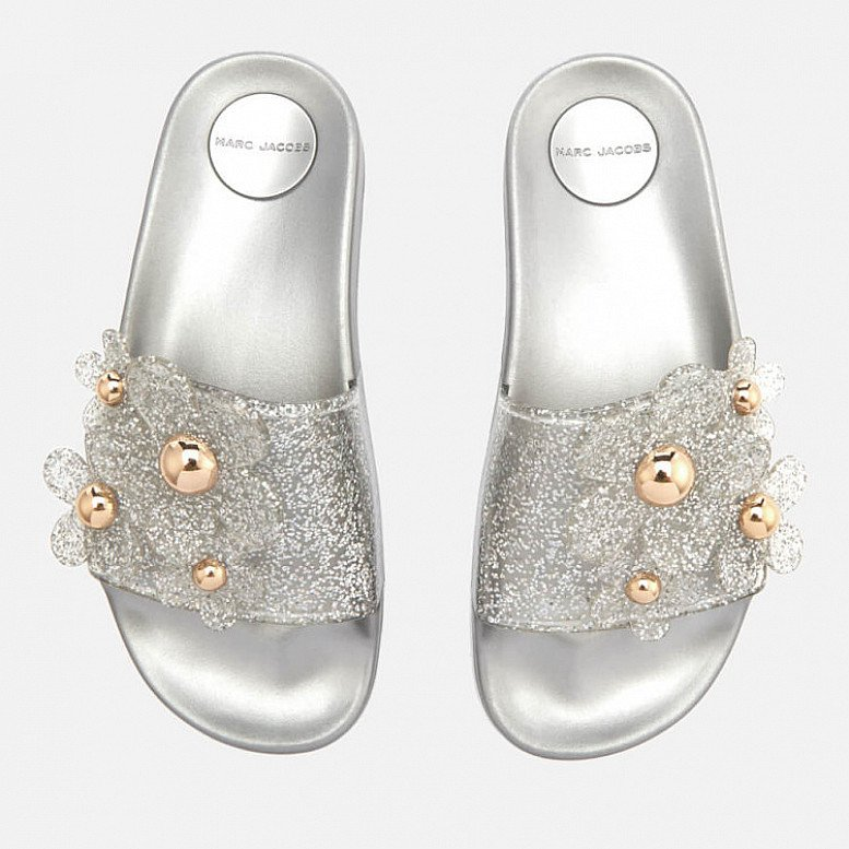 OUTLET SALE - Marc Jacobs Women's Daisy Aqua Slide Sandals - Silver