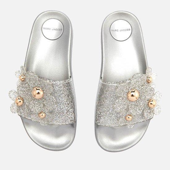 OUTLET SALE - Marc Jacobs Women's Daisy Aqua Slide Sandals - Silver