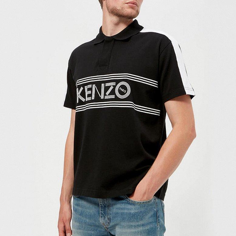 OUTLET SALE - KENZO Men's Large Logo Short Sleeve Polo Shirt - Black
