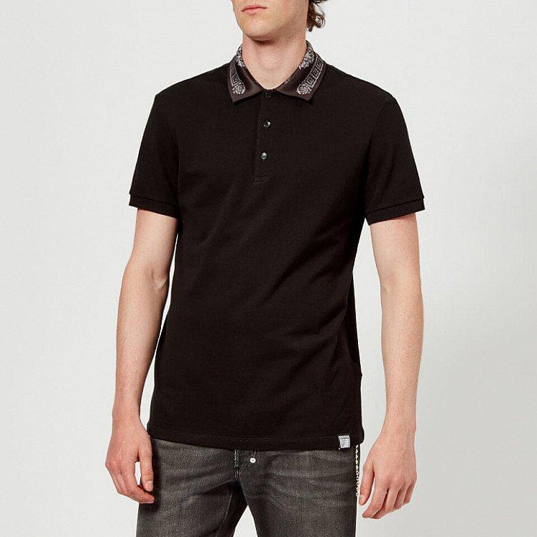 OUTLET SALE - Versace Collection Men's Collar Detail Polo Shirt - Nero