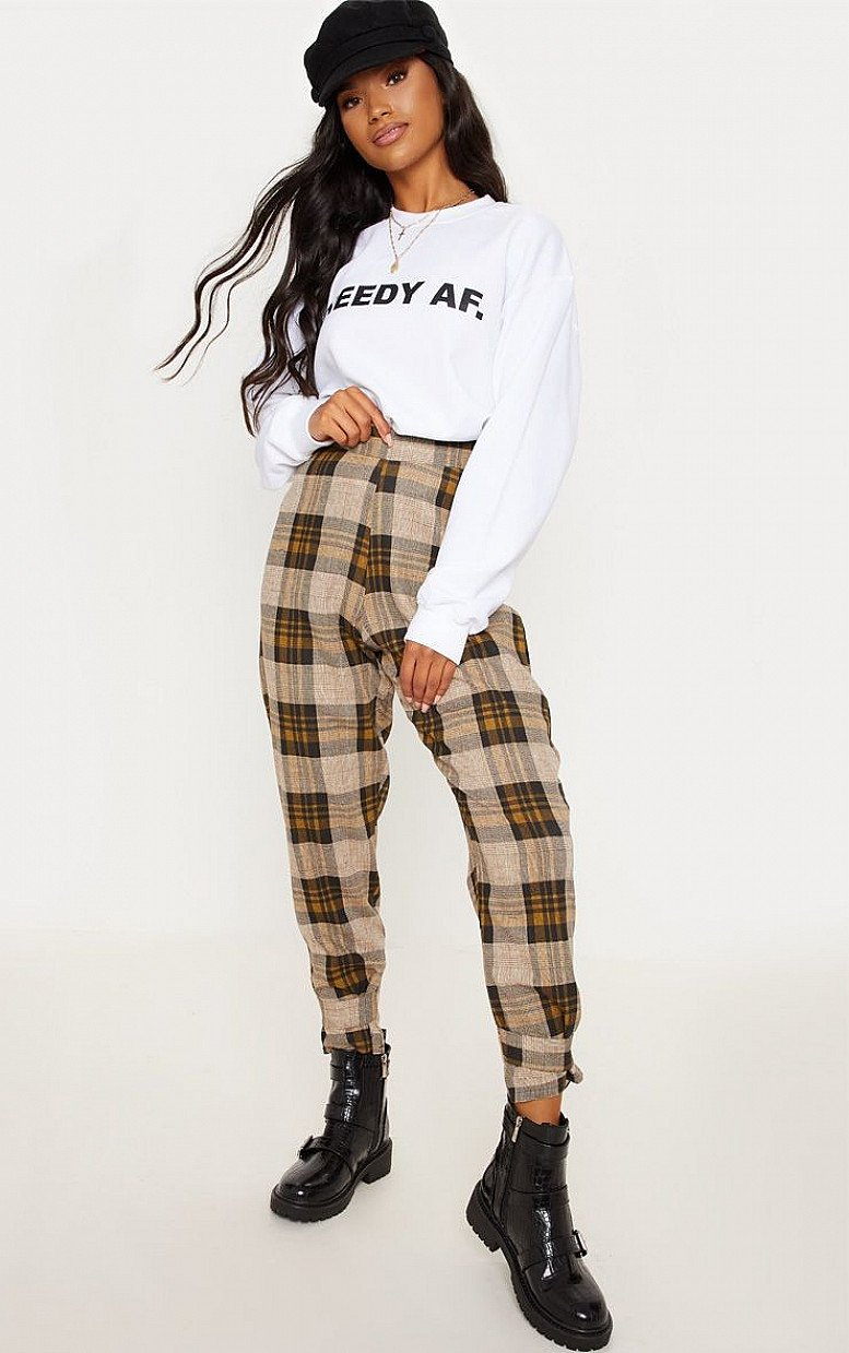 SALE - BROWN CHECK PEG LEG TROUSERS