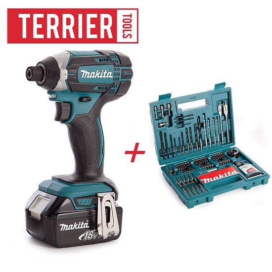 Makita DTD152Z Impact Driver with 1 x 5ah battery + 100 piece accessory kit