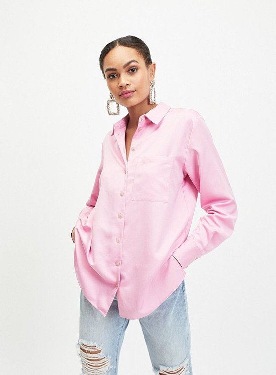 Up to 60% off sale - Pink Satin Shirt