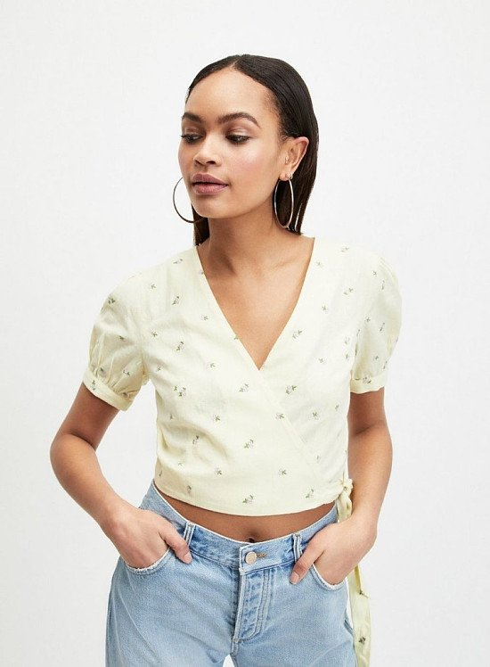 Up to 60% off sale - Lemon Ditsy Print Embroidered Wrap Top
