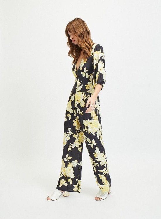 Up to 60% off sale - Black Knot Front Floral Print Jumpsuit