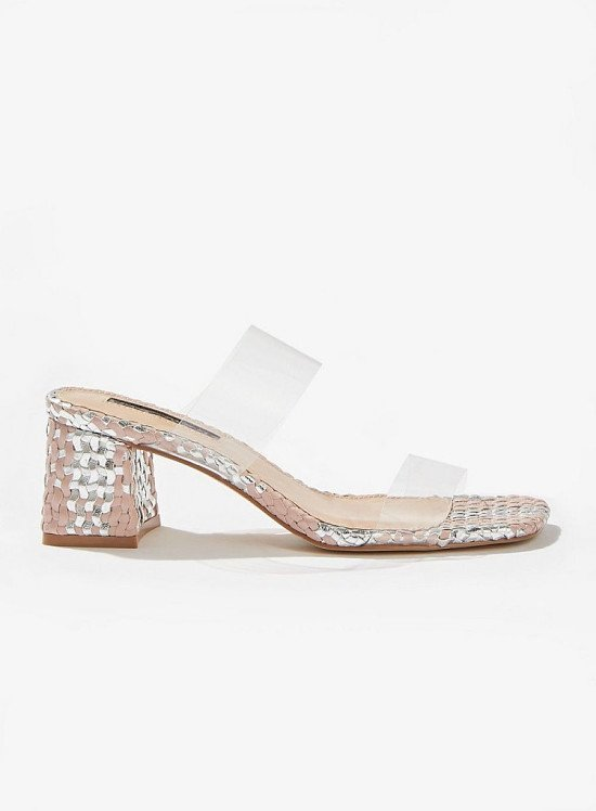 Up to 60% off sale - SPECIAL Pink Woven Perspex Mules
