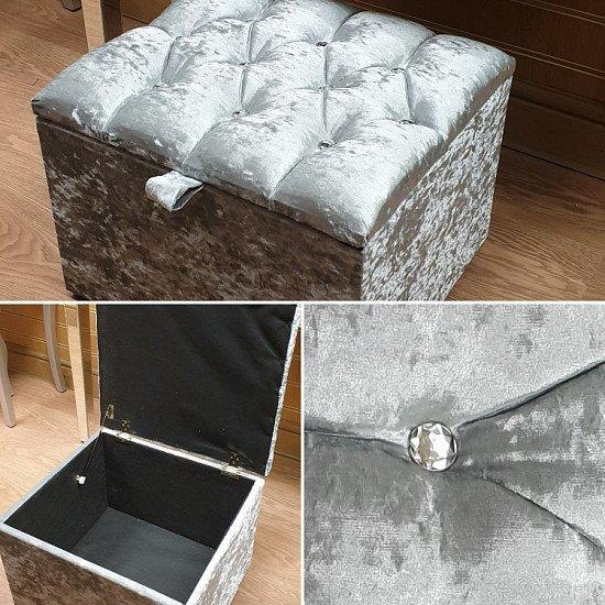 Crushed velvet ottoman dressing stool