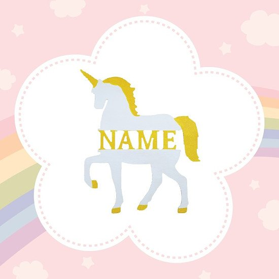 Personalised unicorn name sign made from wood