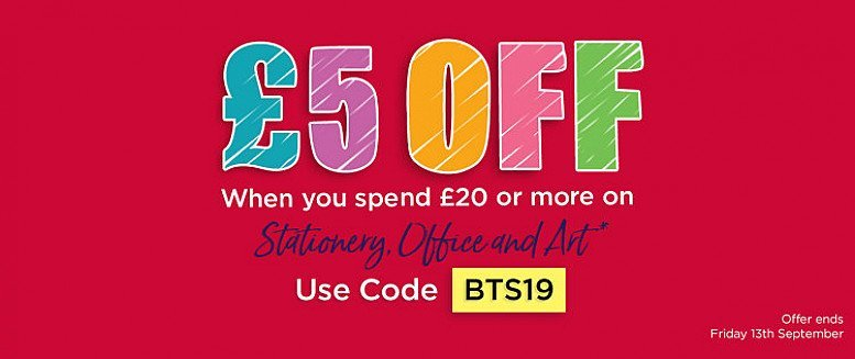 £5.00 Off When You Spend £20 or more on stationery, art & office supplies!